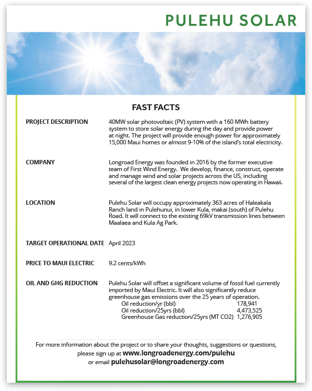 Pulehu Solar Fast Facts